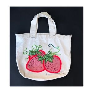 Vintage 70s strawberry embroidered bag tote kitsch